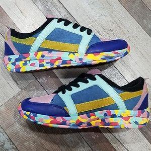 Zara multicolored leather & suede sneakers 39